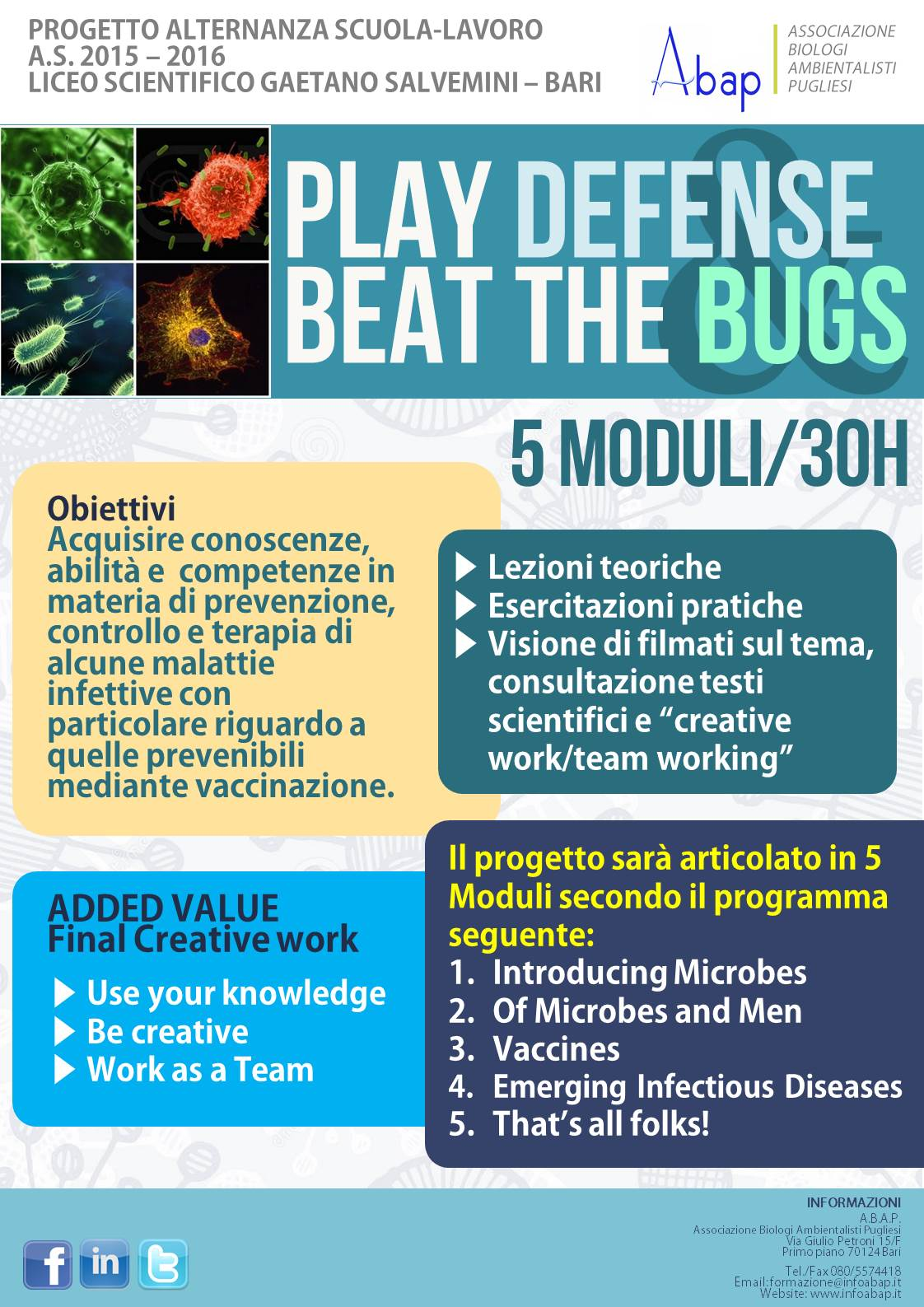 Locandina PLAY DEFENSE & BEAT THE BUGS_ABAP